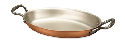 falk culinair classical 25cm x 17cm oval copper au gratin pan